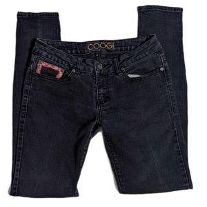 COOGI Vintage Skinny Jeans Black Wash Paisley 28